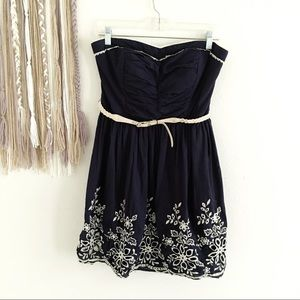 Sequin Hearts Strapless Floral Sweetheart Dress